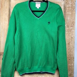 Brooks Brothers men's green vneck sweater  LARGE